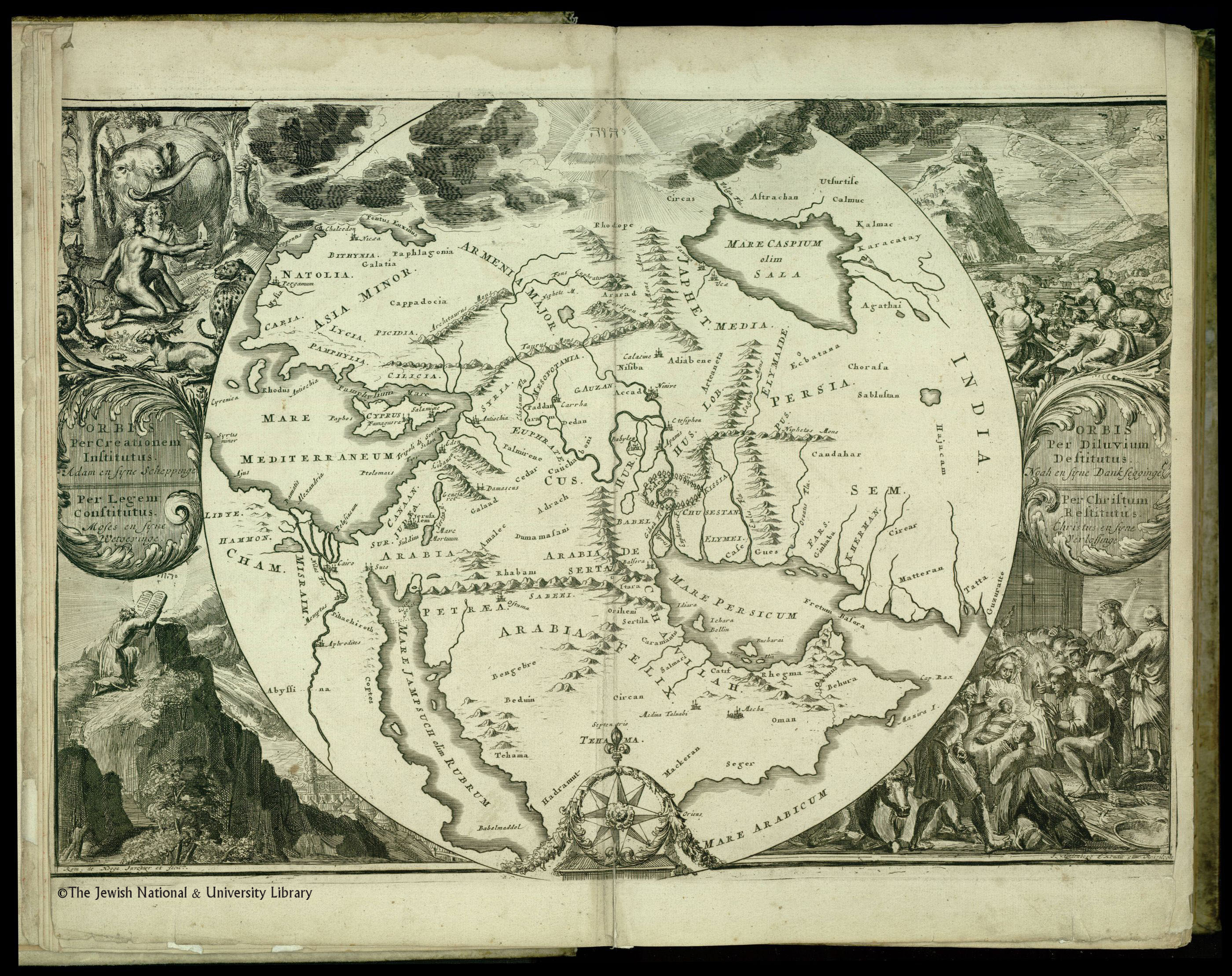 Jerusalem at the very centre of the world buntings map and social de hooghes map babylonparadisedesert as centre of biblical lands gumiabroncs Image collections