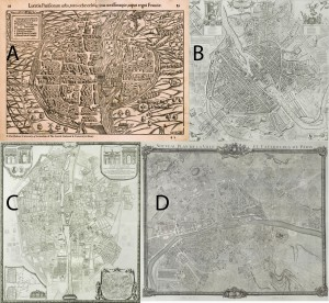 Figure 3: Four maps of Paris. A, 1550 by Münster. B, 1676 by Bullet. C,