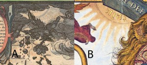 Figure 5: A- God in the first Leo of Visscher. B- And God in the second Leo.