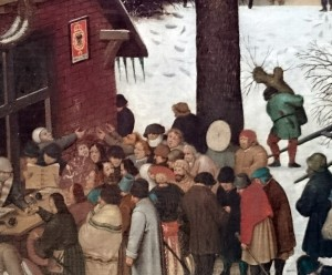 FIGURE 3. The Census at Bethlehem, detail. The tax collectors sitting under the coat of arms of the Holy Roman Empire