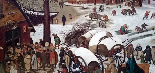 Detail from Bruegel's Census at Bethlehem, between Mary and the tax collectors